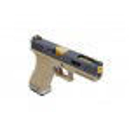 WE Custom G17 GBB pistol with gold barrel (Tan)