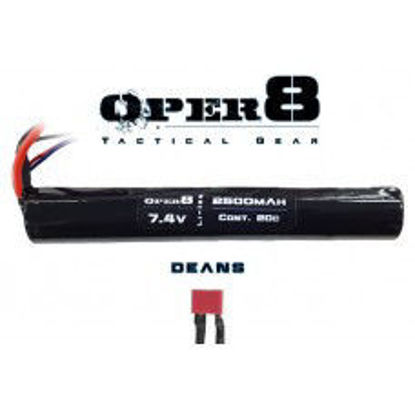 Oper8 7.4V Li-ion 2500MAH Stick Battery - Deans
